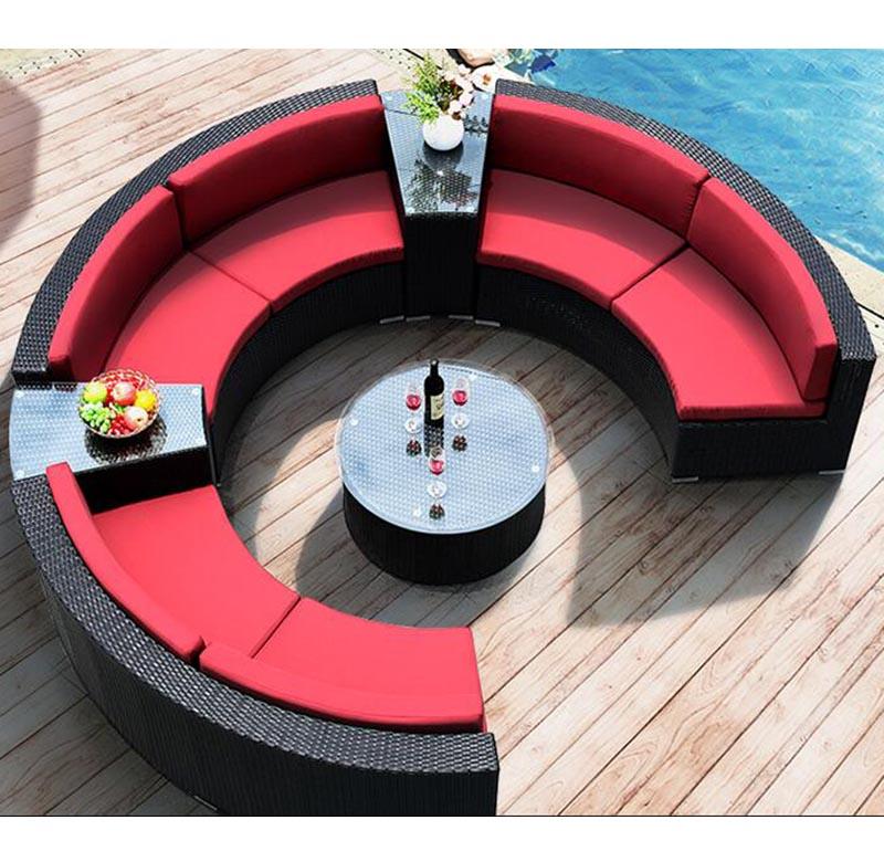 Лидер продаж, уличная садовая мебель, круглый диван из ротанга