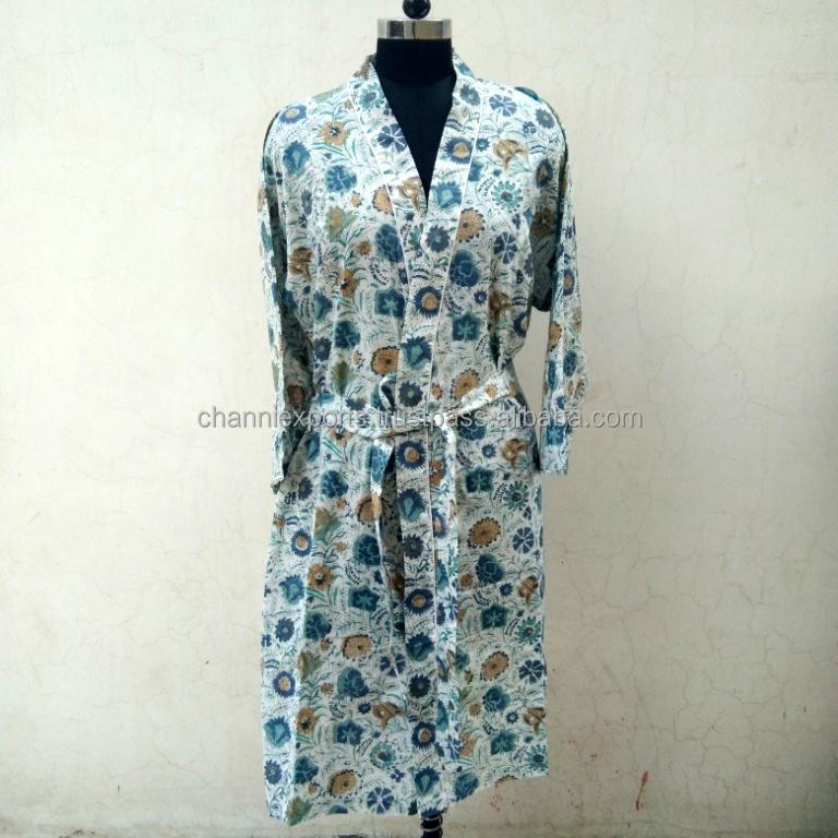 Floral Print Indian Cotton Hand Block Printed Bathrobe Sleepwear Dressing Gown Nightgown
