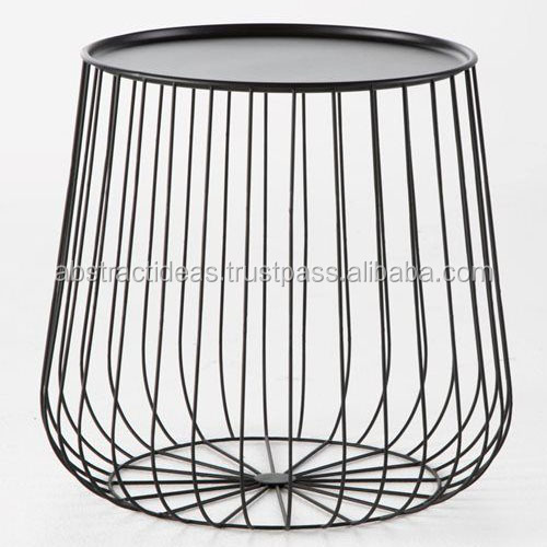 Iron Wire Side Coffee End Table Round Black / Gold Metal Top - Decorative Accent Living Room / Garden Furniture - Buy Round Iron Wire Side Coffee Table Garden,Modern Decorative Living Room