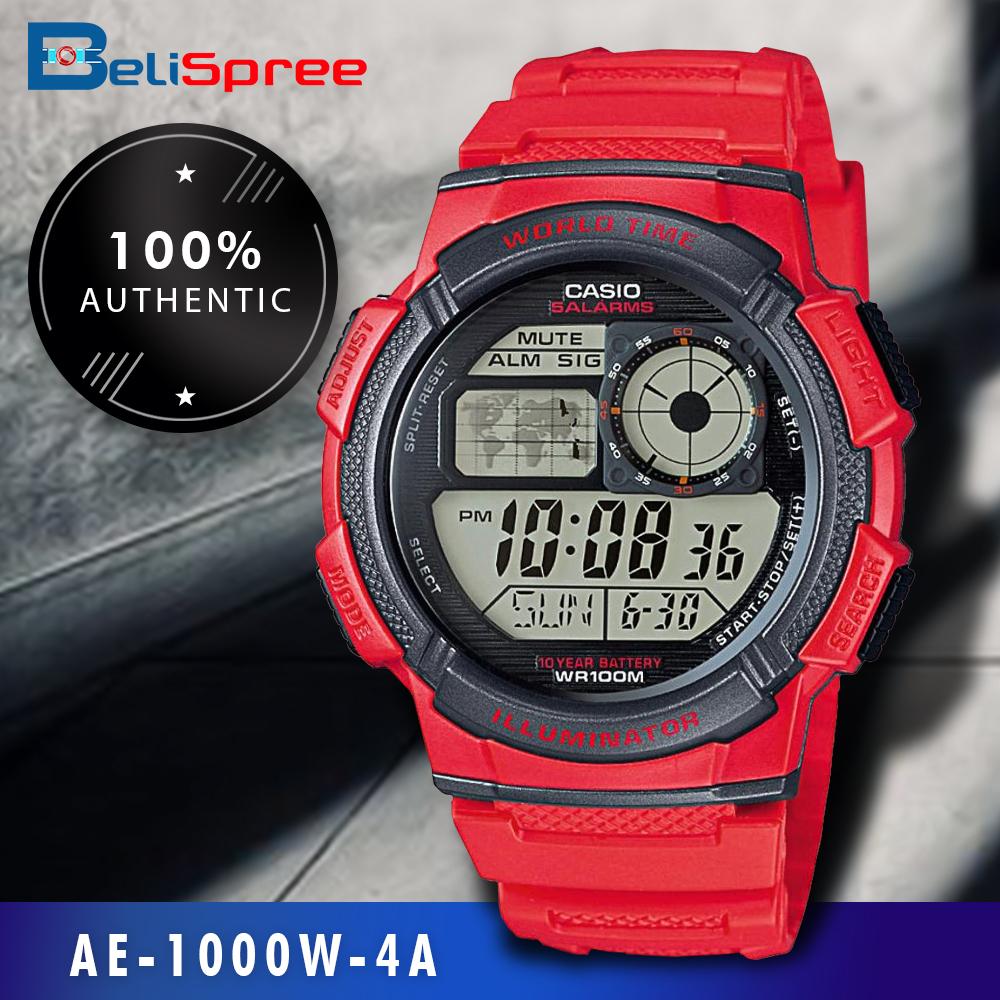 [AUTHENTIC CASIO WATCH] CASIO STANDARD AE-1000W-4A (RED) Digital Watch -(10 Yrs Batt. / WR100M)-