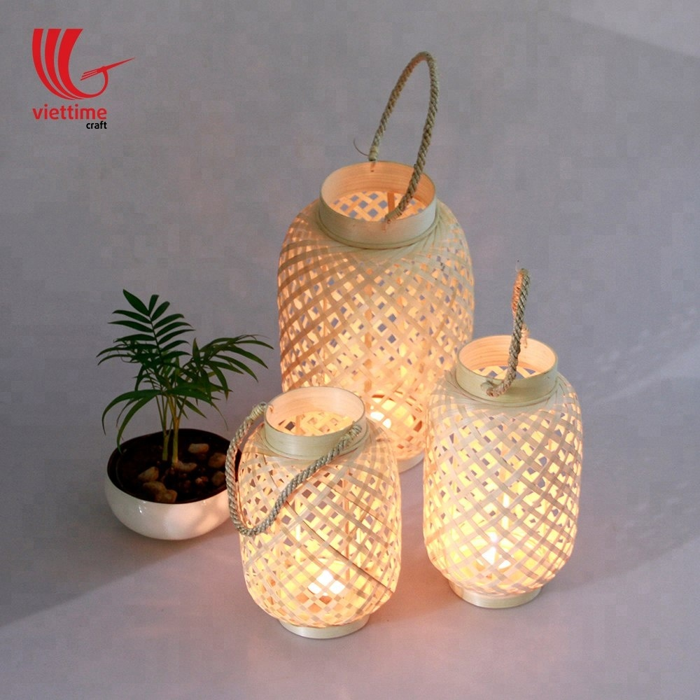Triangles Pillar Candle Bamboo Cylinder Candle Lantern