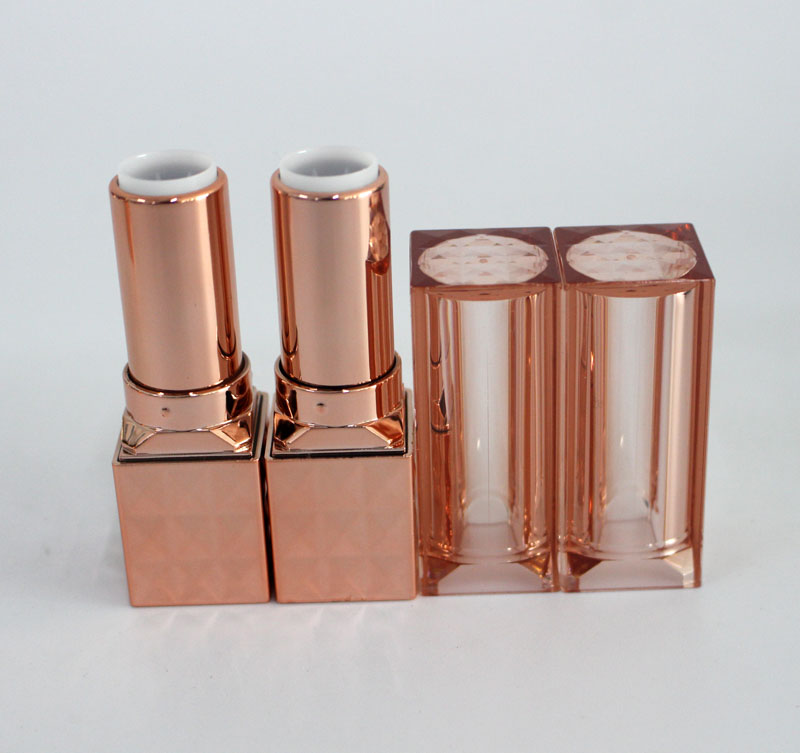 Luxury square rose gold ipstick tube, empty lip stick tube 12.1mm cosmetic packing