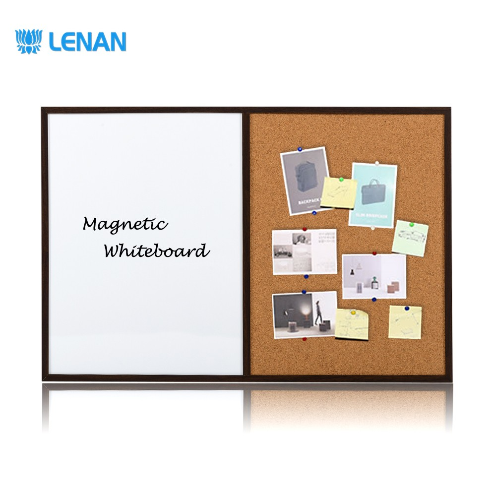 Wooden frame half magnetic dry erase whiteboard half cork board combination board