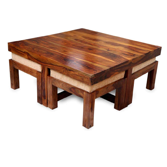 Classic Luxury Commercial High Quality Handcrafted Sheesham Mango Solid Wood Coffee Table With 4 Stools Living Room Center Table Buy Newest Popular Home Furniture Wooden Side Coffee Table Simple Structure Smart Look