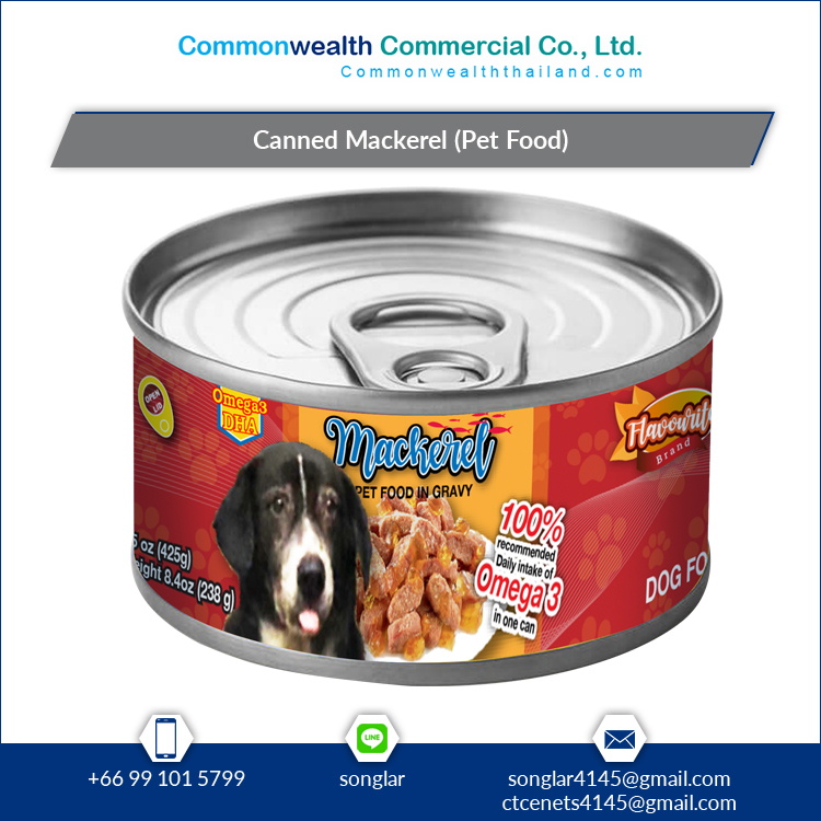 Bulk Stock Good Quality Dog Food Fresh Mackerel Fish in 14 Oz Canned Pack