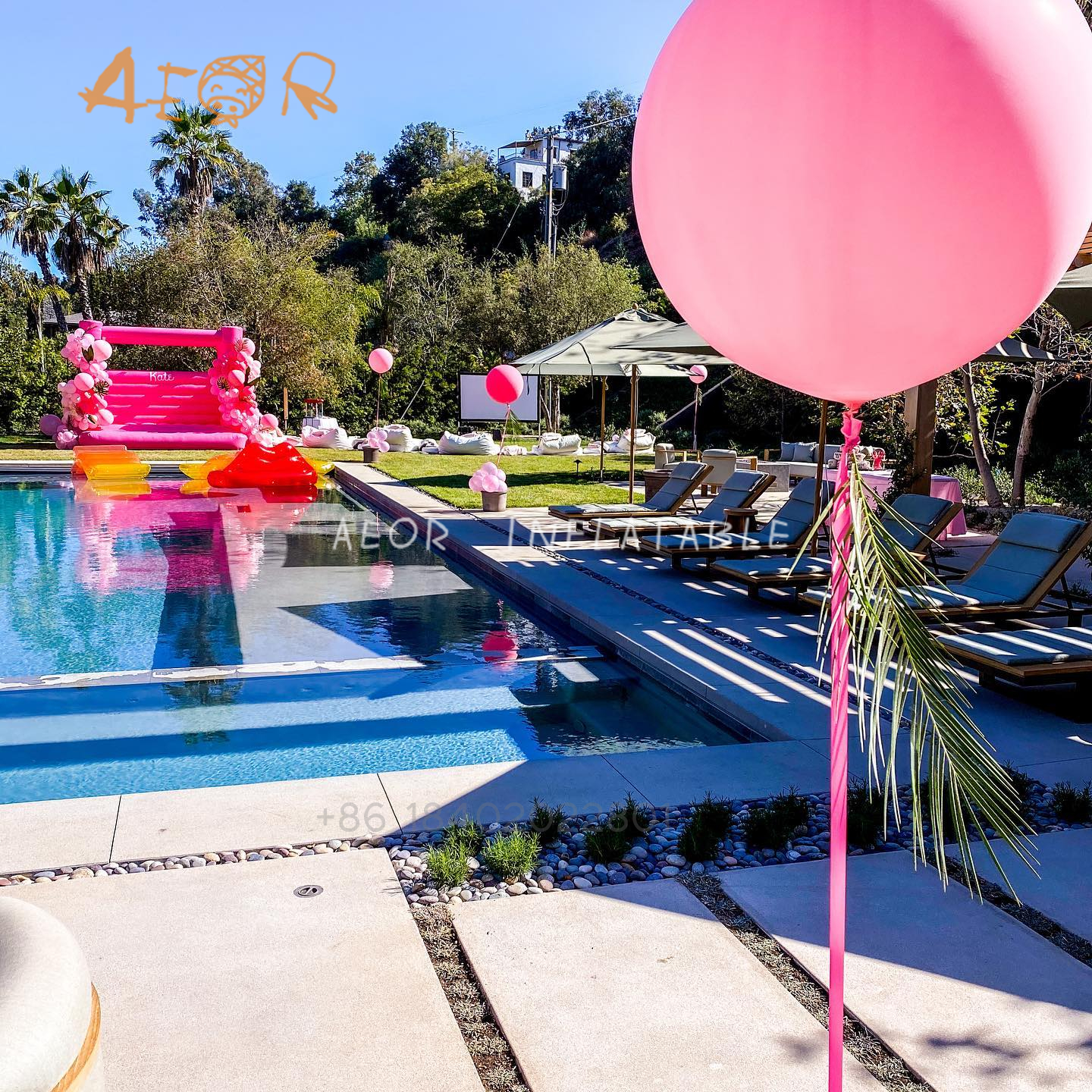 Pink Bounce House Rentals,White Inflatable Bouncers,Custom Size Moon Bounce