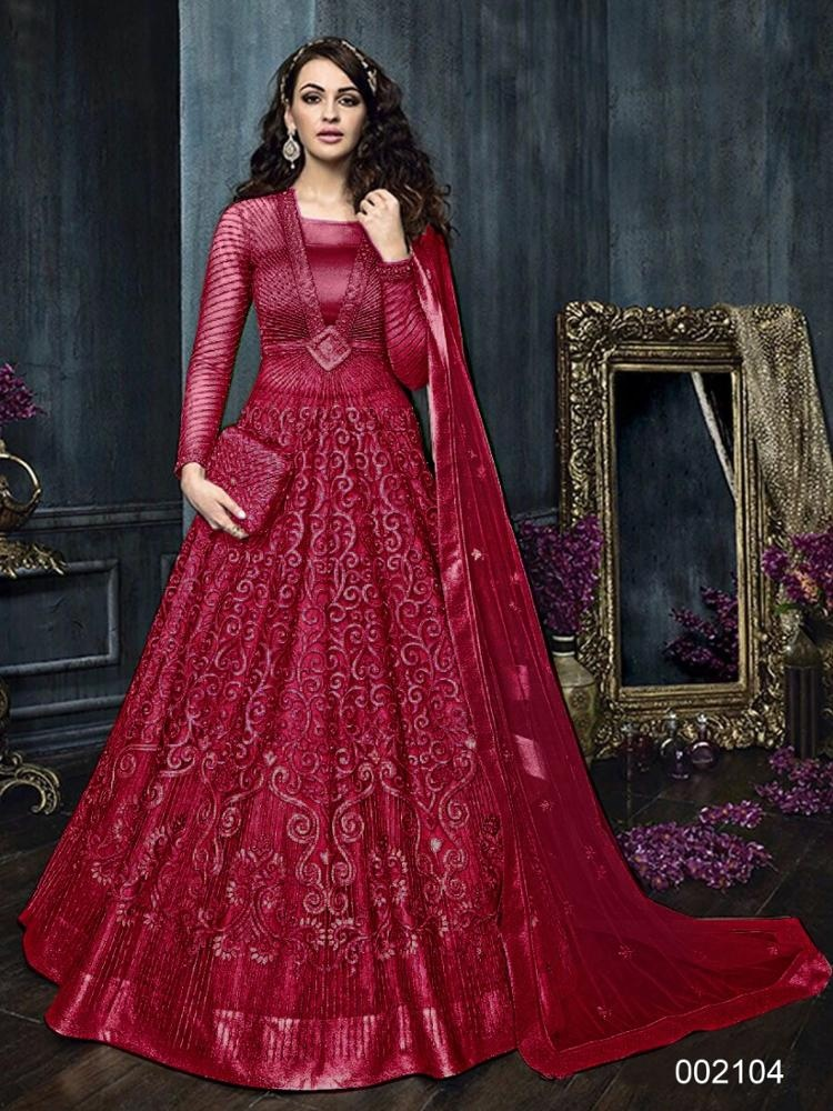 Indian floral Wedding Dress Collection for Women With Heavy Embroidered Work 3D flower work Partywear Heavy Net Salwar Kameez