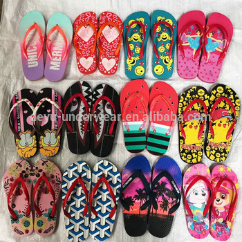 0.34 Dollar RZT002 Kids children's slippers Ready Stock Fast Ship Mix Prints Mix Size 25-36