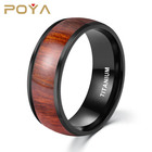 1 Piece MOQ 8mm Black Plated Titanium Wedding Ring with Wood Inlay