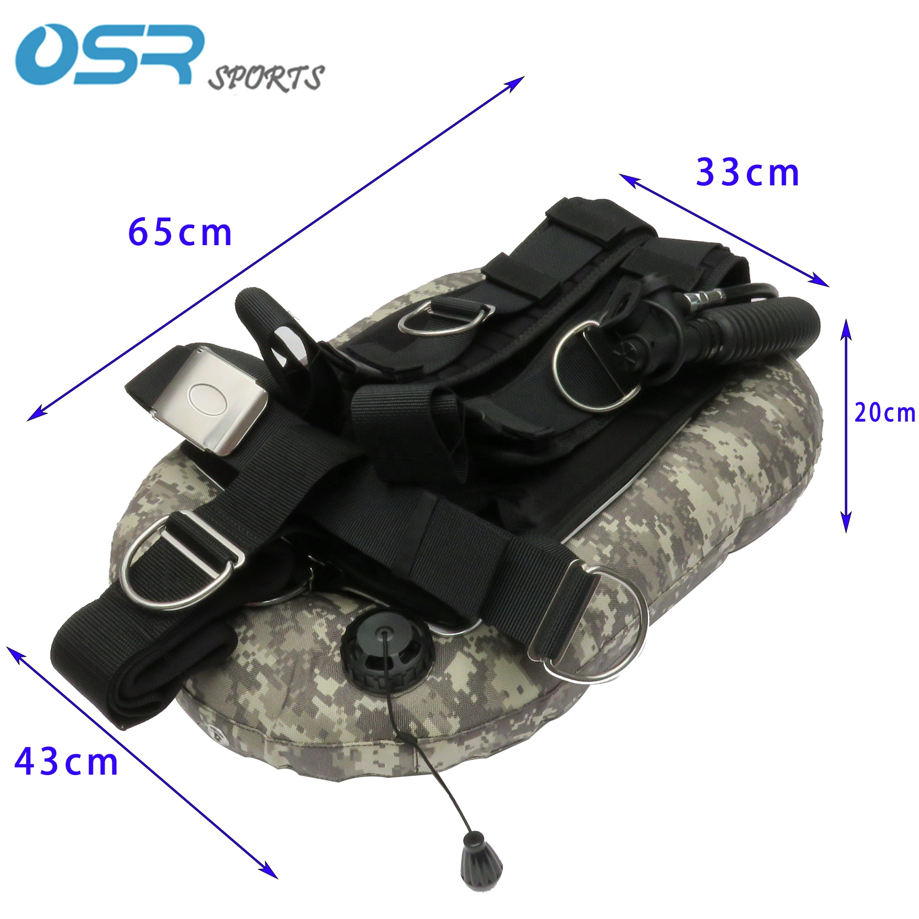 Single tank 30LBS donut BCD scuba tech diving hard harness backmount