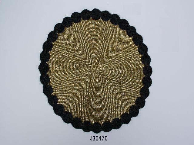 Flower petal style round Glass bead place mat other colours also available