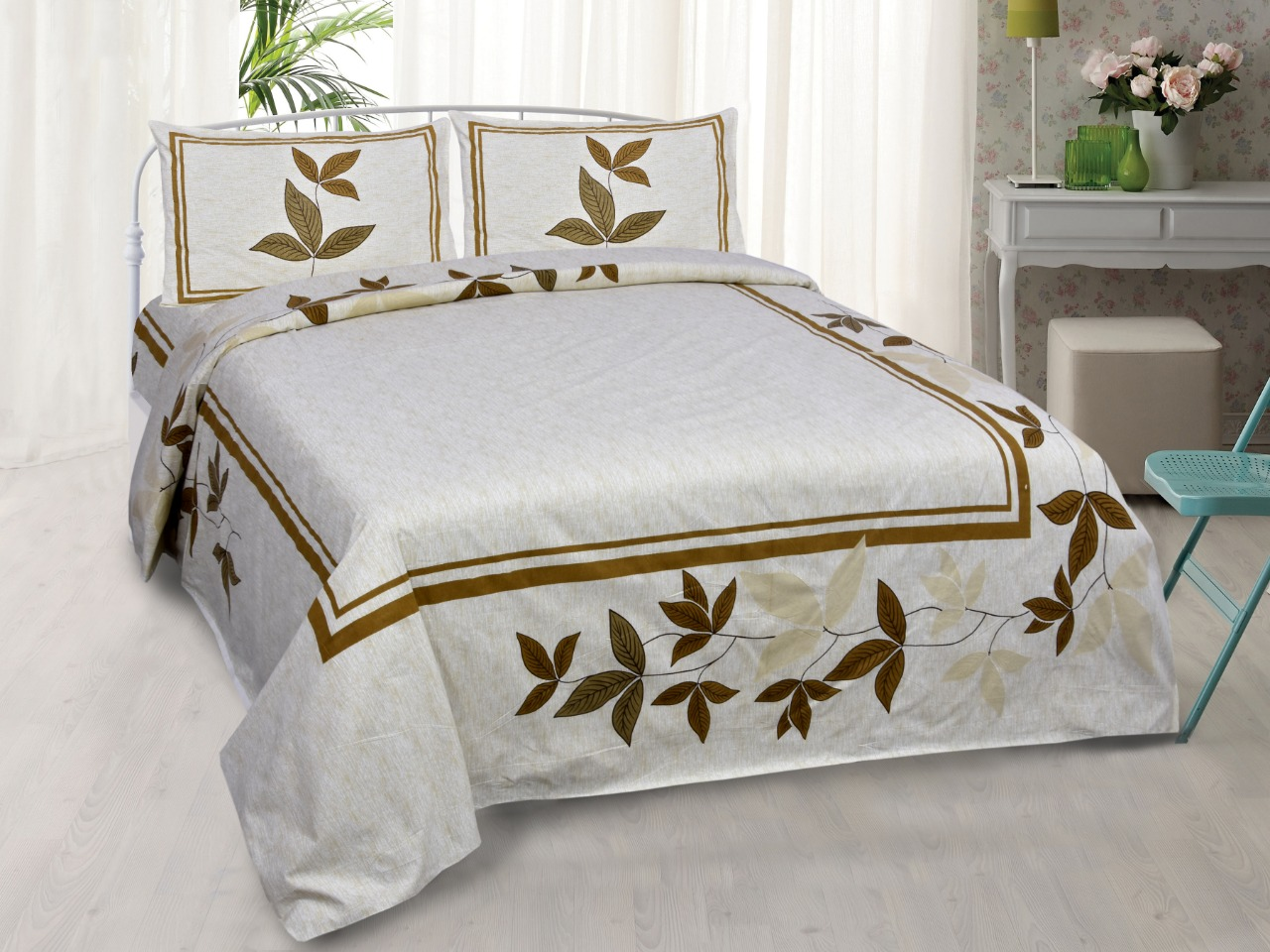 Pure Cotton King Size Bedsheet Pillow Cover Bedding set Tapestry Floral Bedsheet