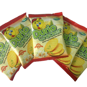 Durio Cracker 150 box with high quality of Vietnamese Durian flavor Low price Biscuits and Cookies