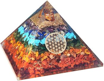 Seven Chakra Orgone Pyramid - 7 Chakra Orgonite Pyramid Energy Healing Crystals and Stones Emf Protection Pyramid