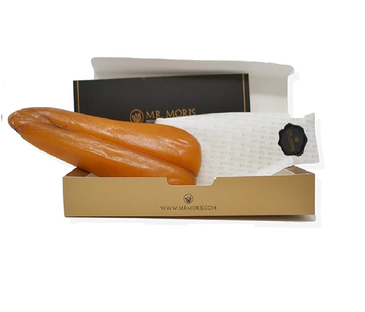 Высококачественный Mullet Bottarga Mr. Moris Сделано в Италии Кошерный в роскошной коробке 220 г