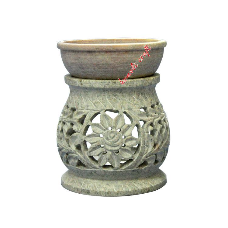 Carved flower design soapstone oil burner soapstone oil burner carved tea light holder tea light oil warmers