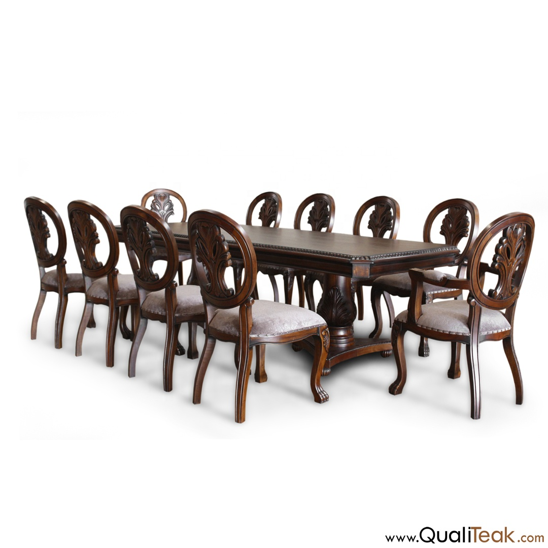 Antique Dining Table And Chairs Set Solid Mahogany Wood Linen Upholsery Buy Dining Table And Chairs Set Solid Wood Dining Table Set Indonesia Furniture Product On Alibaba Com