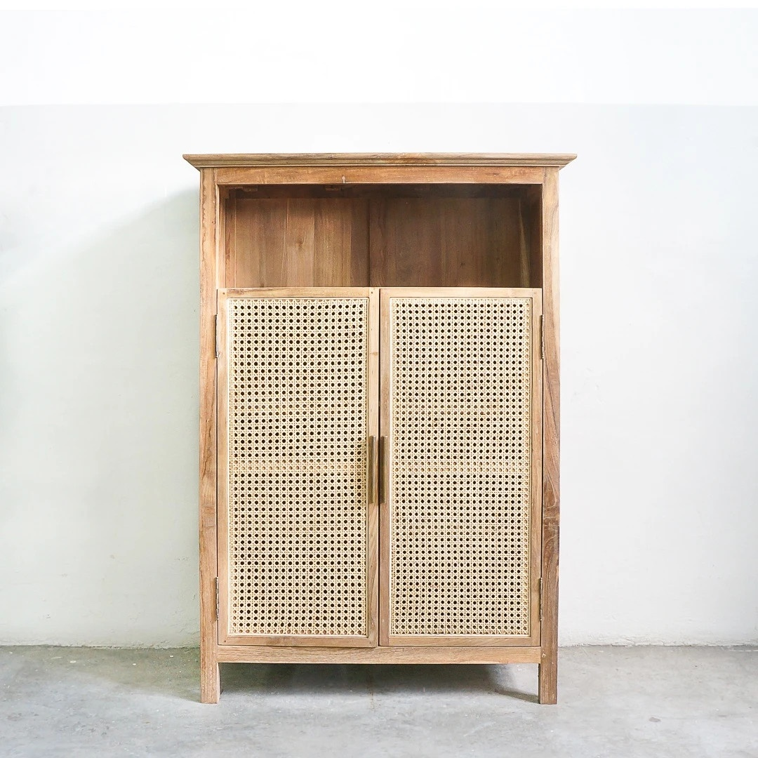 High quality natural rattan and wood cabinet kitchen storage made in Vietnam