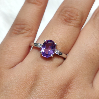 Natural Purple Amethyst 925 Sterling Silver Ring Semi Precious Gemstone Ring