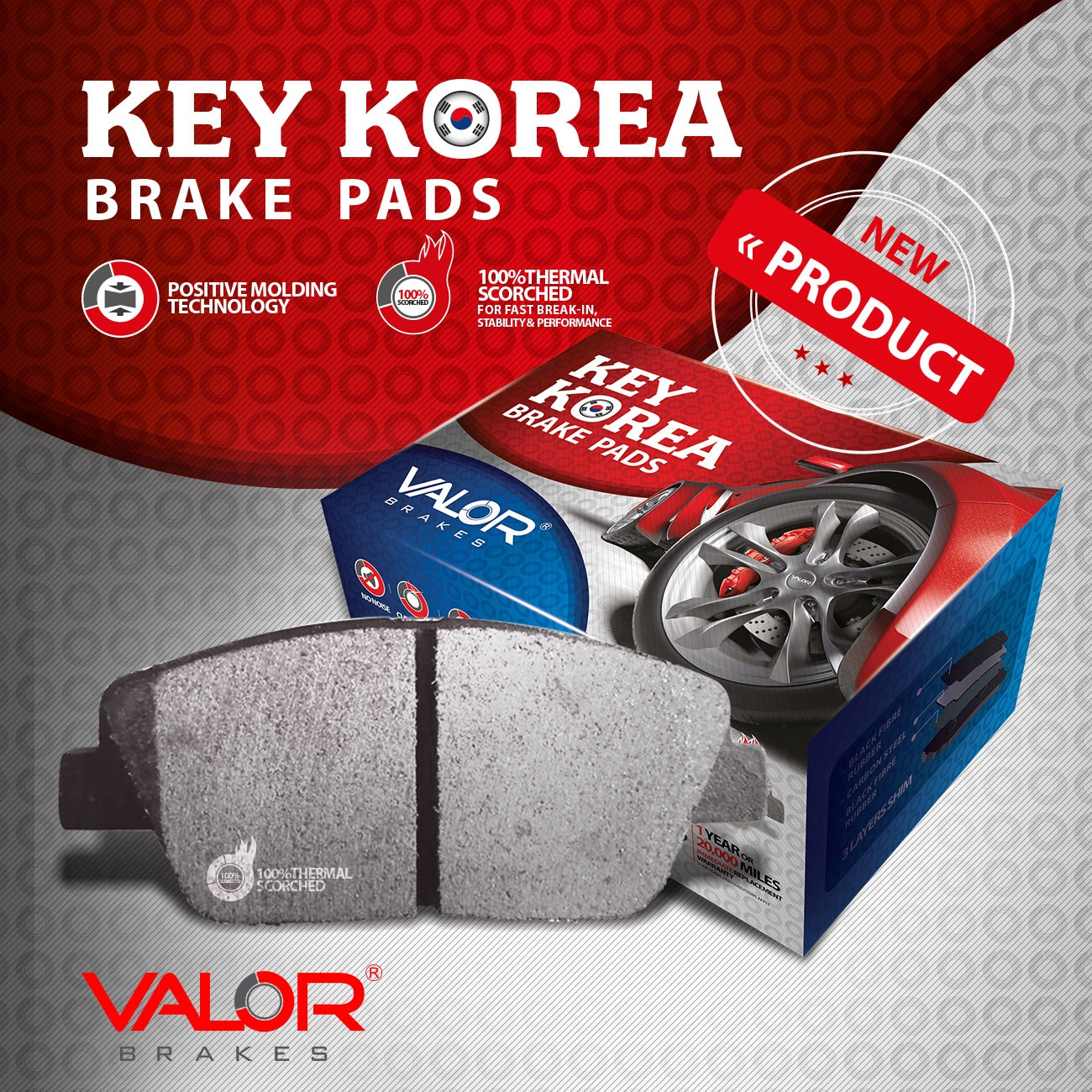 valor brake pad for Korean cars