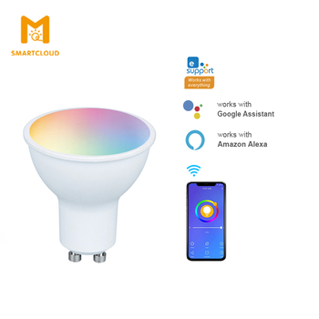 Smart WiFi LED Bulb GU10 4W dimmable Compatible with Alexa and Google Home RGBCCT Multi-Color Voice Control Bulb