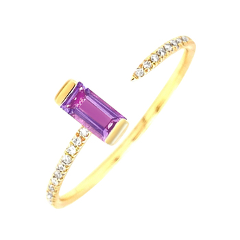 14K 585 Yellow Gold Diamond and Baguette Amethyst Trendy Classic Channel Set Ring