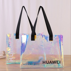 Best Selling High Quality Fast Shipping Clear Hologram PVC Duffle Bag with logo pvc shopping tote bag with button