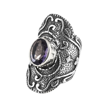 Purple amethyst ring indian jewelry 925 sterling silver fashion rings wholesale silver jewelry suppliers