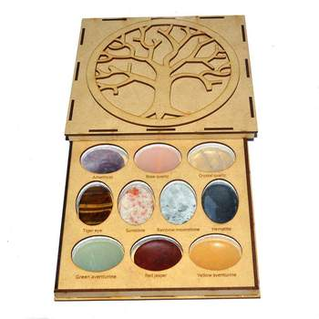 10 Healing Stone Set With Wooden Box Flower of Life Engraved 10 healing Wooden Box With Chakra Set Wholesale.Crystals