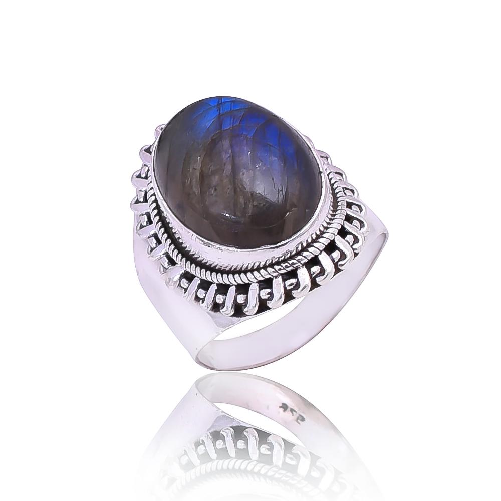 925 Silver Natural Labradorite Blue Fire Ring Women New Rings Cabochon Gemstone