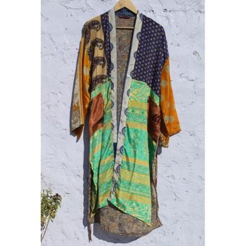 SHORT SILK MAXI GOWN BATH ROBE BIKINI COVER UP VINTAGE SIDE POCKETS PAPER BEACHWEAR KIMONO