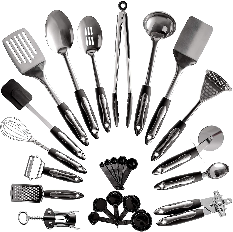 Kitchen Accessories 2021 Stainless Steel 201/410 Kitchen Utensils sets Cooking Tools Sets Metal Kitchenware Sets 1 buyer