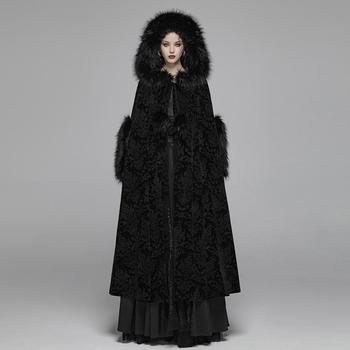 Punk Rave Romantic Aristocrat Gothic black wedding jacquard velvet women's extra long cloak WY-1038