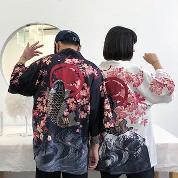 Women Men Japanese Kimono Coat Harajuku Vintage Loose Yukata Outwear Casual Retro Tops
