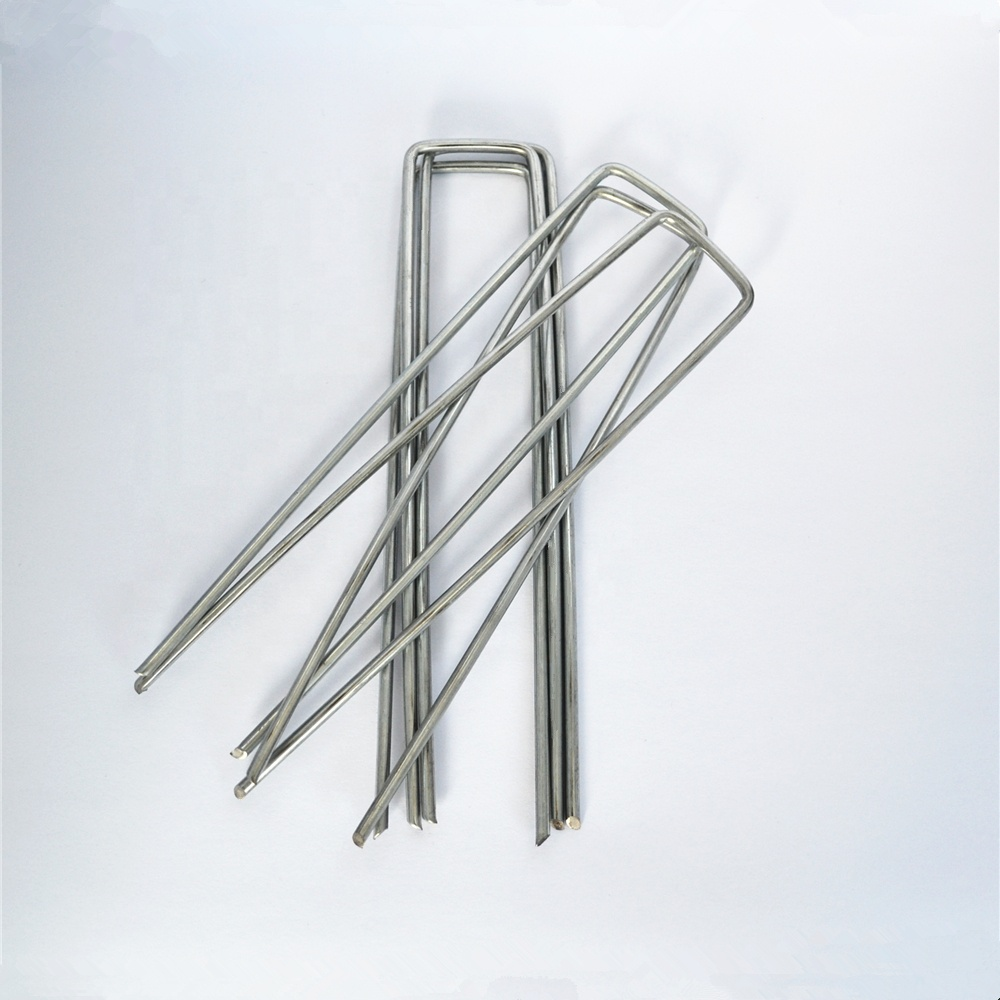 U Shaped Galvanized Sod Staple U Type Turf Nails Pins Anti-rust Garden Stakes Ground Staples Tent Pegs for Fixing Grass Weed
