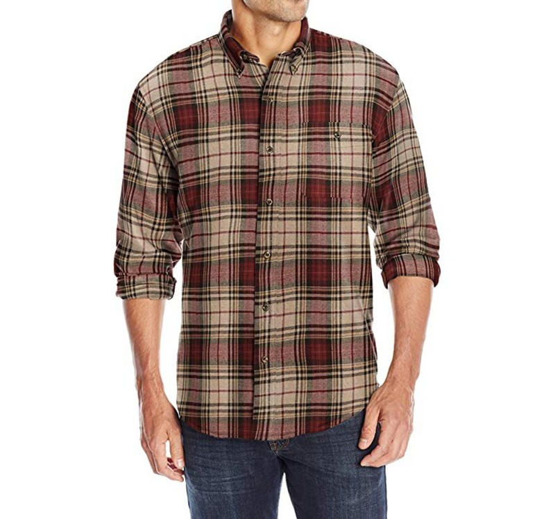 Mens Button Down Collar Red Black Checked Flannel Shirt