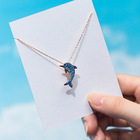 Sterling Silver Dolphin Silver N1583 Wholesale Jewelry Of Aniversaire Gift Sterling Silver 925 Simple Style Cute Blue Dolphin Necklace