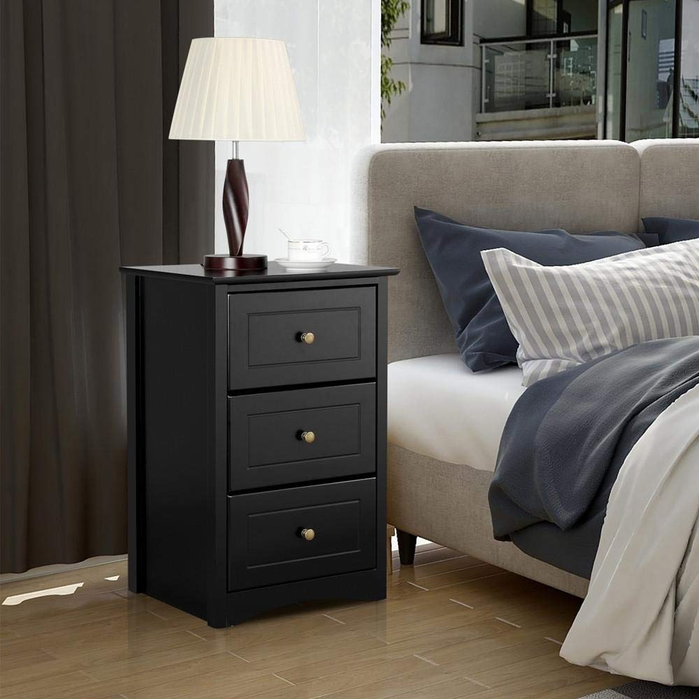 free shipping tall bedside table nightstand with 3 drawers end side sofa table storage cabinet for bedroom black buy nightstand black
