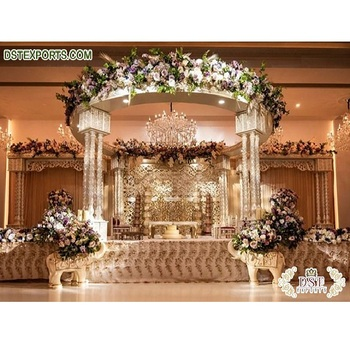 Luxury Indian Wedding White Palace Mandap Vintage Style Maharani Mandap for Weddings Aesthetic Wedding Decoration Rustic Mandap