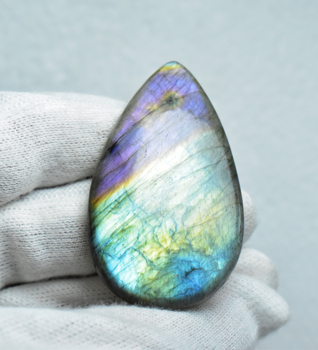 Pear Shape Amazing Purple And Green Fire Natural Labradorite Gemstone