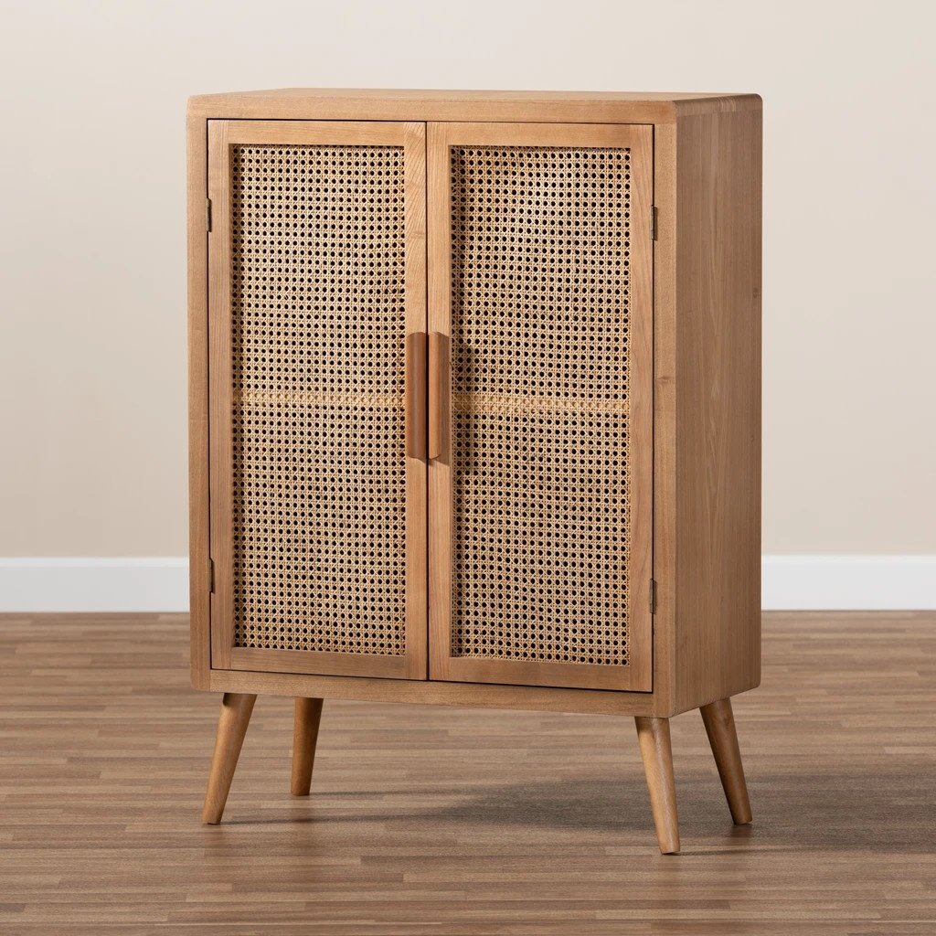 High quality natural kitchen storage rattan and wood cabinet made in Vietnam