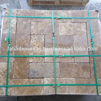 "Coffee Brown Travertine , 6x12"" Paver - Tumbled / dry & wet photo"