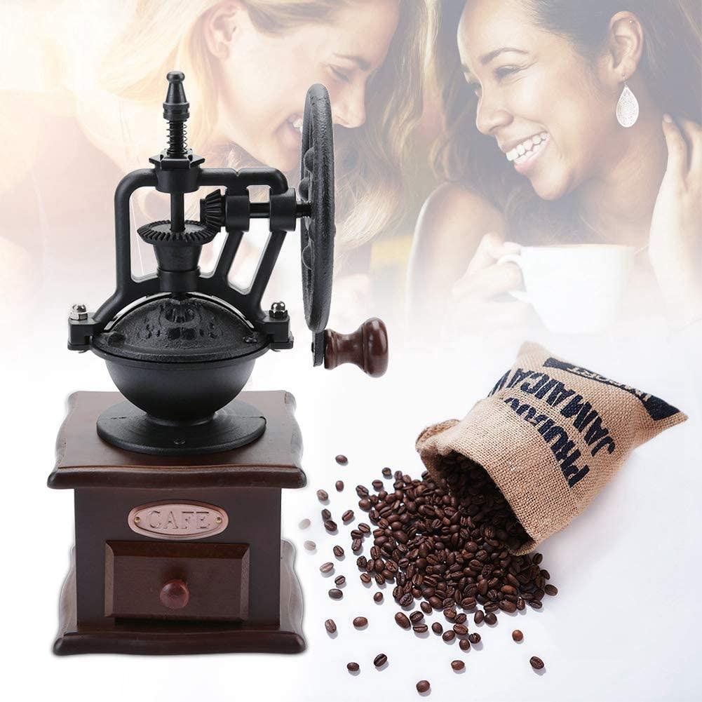 Manual Coffee Grinder Kitchen Retro Style Wooden Coffee Bean Mill Grinding Ferris Wheel Design Coffee Vintage Maker Tool
