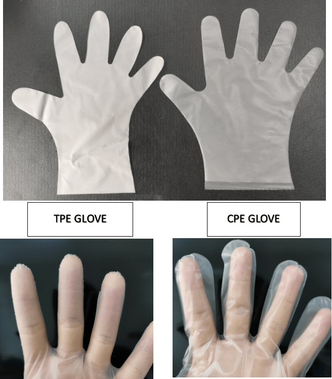The different on the film's surface between TPE and CPE Gloves