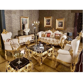 Royal Palace Gold Carved Livingroom Furniture Luxury Baroque Style Sofa Set For Home 5 Seater Wooden White & Gold Sofa Set
