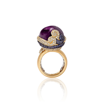 Luxury Ring Gold 18K Italian Design with Sapphires Diamonds and Amethyst