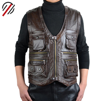 Wholesale Fashion Men's Faux Leather Vest Waistcoat, High Quality Leather Sleeveless Vest