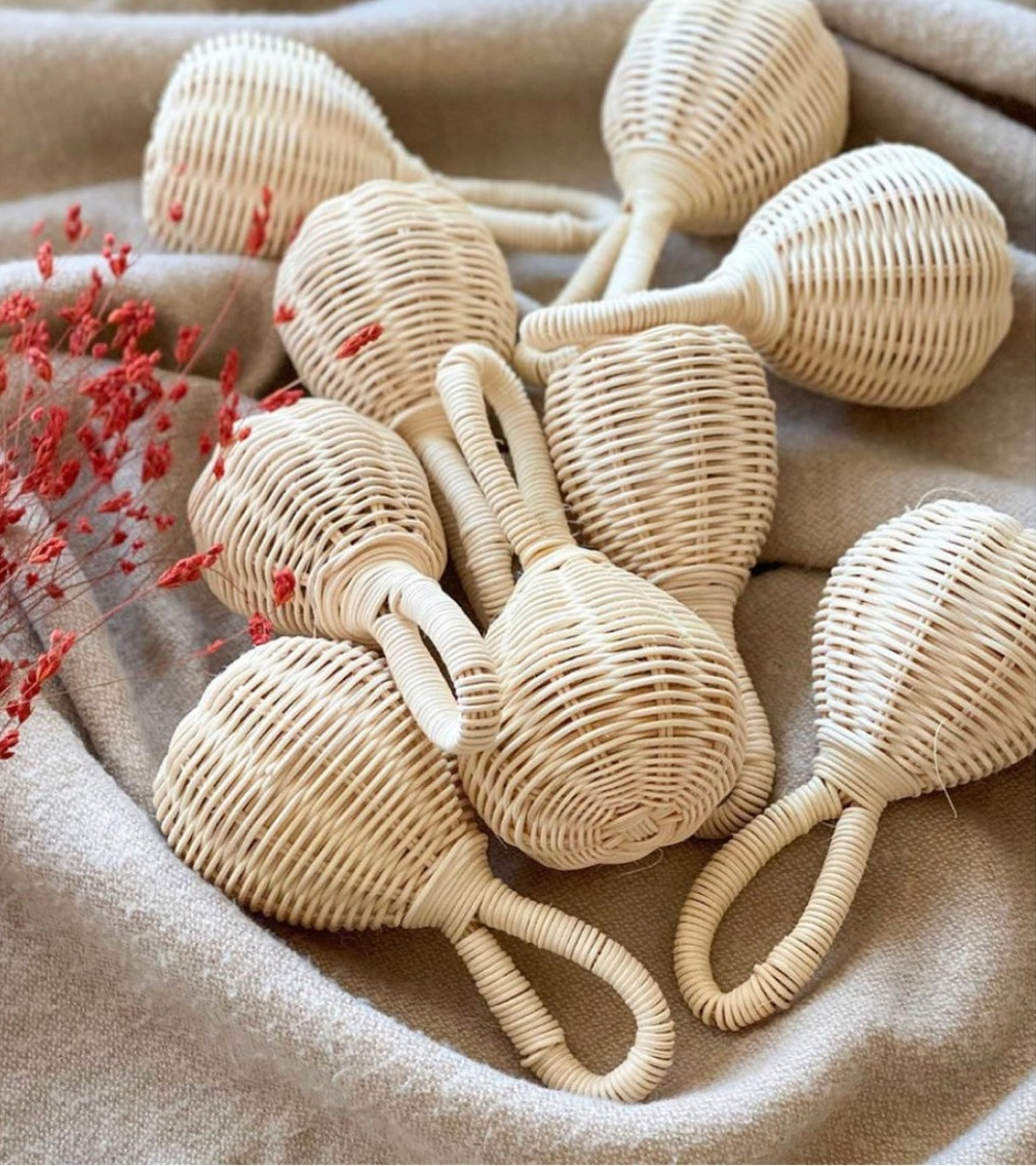 Wicker rattan infant baby rattle toys