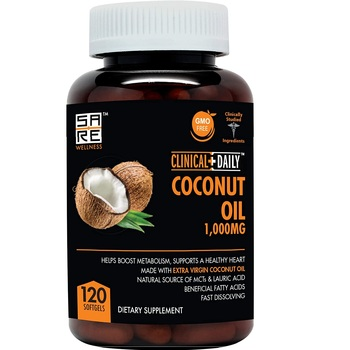Organic Coconut MCT Oil Capsules supplement. Pure Extra Virgin Hair Fertilizer.120 Lauric & Caprylic Acid Softgels .120 Capsules