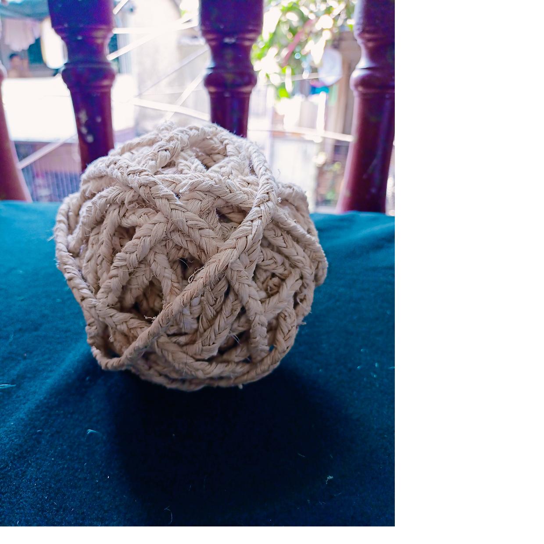 okra braided yarn in custom made balls made from natural fibers